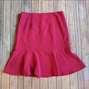 NWOT Kasper Magenta Pink Ruffled Pencil Skirt 6P